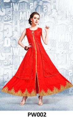 Designer Two Piece Sleeveless Kurti with Pure Silk Jacket Red color  Contact No/WhatsApp No »  80853-95917  #Redkurti  #TwoPieceSleevelessKurti #sleevelesskurti #fashionkurtis