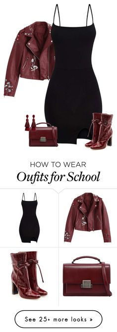 """""""Bodycon Dress & Leather Jacket"""" by majezy on Polyvore featuring Yves Saint Laurent, Malone Souliers and Oscar de la Renta"""