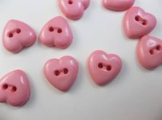 Pink Heart Buttons - 2-Hole Buttons - Plastic Buttons - 10 Buttons on Etsy, $1.00