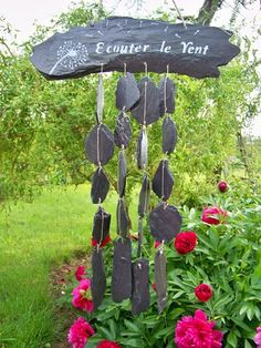 "Garden chime ""listen to the wind"" … Source by violainekk Garden Deco, Garden Art, Slate Garden, Garden Online, Driftwood Crafts, Land Art, Permaculture, Garden Planning, Mobiles"