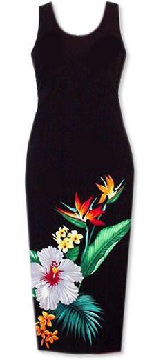 long tropic hawaiian dress