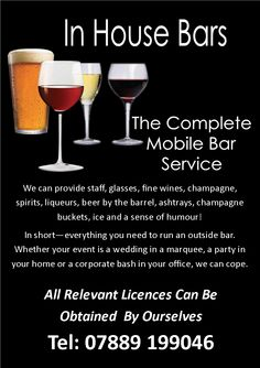 In House Bars, the complete licensed mobile bar service covering Cheshire, Manchester and the wider North West. Tel Graham on 07889 199046