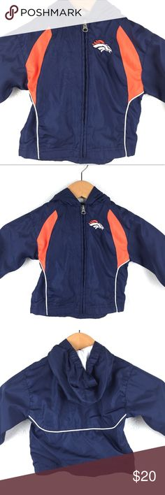 24mo Bronco Jacket 24 Month old Broncos jacket. Some signs on wear on inside, and minor spot on sleeve less than .25 of an inch (noted in photos).      Good Condition: 8 out of 10 rating NFL Team Sports Jackets & Coats