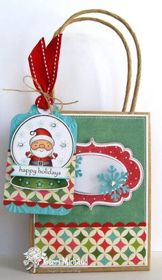 Adorable Gift Bag and Tag featuring Holiday Snow Globe set and Fancy Frame Die and stamp set