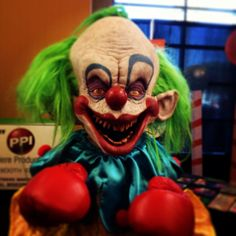 shorty the clown. killer klowns from outer space (instagram photo by reydiablo) | evil clown. chiodo bros. brothers. mask. art. original. film. movie.