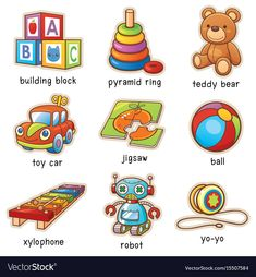 Find Vector Illustration Cartoon Toys Vocabulary stock images in HD and millions of other royalty-free stock photos, illustrations and vectors in the Shutterstock collection. Thousands of new, high-quality pictures added every day. Learning English For Kids, English Lessons For Kids, Kids English, Teaching English, English Vocabulary Words, English Phrases, Learn English Words, English Language, Toddler Learning Activities