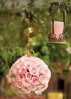 A Flower Kissing Ball - A wedding is all about love and happiness. A ball of flowers like this can be just like a mistletoe. A flower kissing ball would bring so much more love to an event like a. Deco Floral, Arte Floral, Kissing Ball, Pink Color Schemes, Deco Nature, Purple Home, Flower Ball, Pretty In Pink, Floral Arrangements