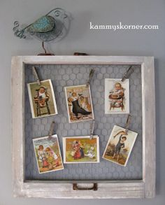 Kammy's Korner: Chicken Wire in an old window frame to display photos or vintage postcards