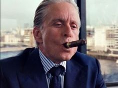 """Someone reminded me I once said: greed is good."" -Gordon Gekko (I love Michael Douglas in this film! Famous Cigars, Street Film, Ex President, Good Cigars, Star Wars, Hollywood, Never Sleep, Look At The Stars, Cigar Smoking"