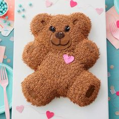 This cuddly Teddy Bear Cake is almost too cute to eat! Perfect for a first birthday party or baby shower, this cake is made using the Wilton Teddy Bear Cake Pan. Teddy Bear Cookies, Baby Teddy Bear, Teddy Bear Baby Shower, Teddy Bear Toys, Teddy Bears, Teddy Bear Birthday Cake, Cupcake Birthday, 2nd Birthday, Crochet Teddy Bear Pattern