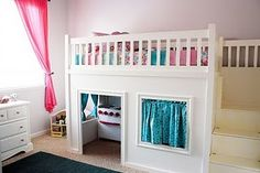 Child Loft Bed with Playhouse underneath!  Design from Ana White.
