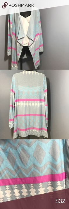 🆕Beautiful printed open cardigan Brand new. Slim fit open cardigan in light gray, blue, and pink. 🌟NOTE: Tag says (juniors) extra large but fits more like a womens size M/L. Boutique Sweaters Cardigans