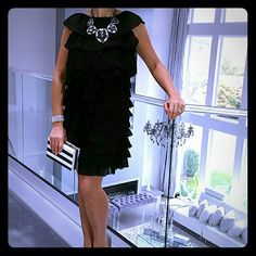 LBD Date night NEW Perfect Little Black dress for date night, ladies night out, cocktail party or the coming holidays!! Beautiful ruffles flow down the entire dress, making this dress fabulously glamorous! 100%silk Size small No trades/No paypal/No returns Fumblin Foe Dresses