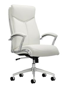 Realspace Verismo High Back Chair White - Office Depot White Office, High Back Chairs, Executive Chair, Office Makeover, Chair Backs, Bonded Leather, Furniture Styles, Leather Material, Home Goods