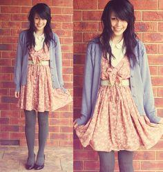 Blouse Dress Cardi Vintage, Columbine Tights