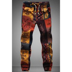 $12.37 Drawstring Gecko Pattern Print Narrow Feet Men's Jogger Pants