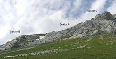 Blick zurück auf die verschiedenen Klettersektoren Engelberg, Desktop Screenshot, Climbing, Photo Illustration
