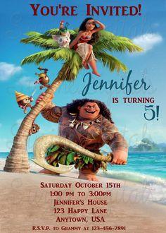 Moana Birthday Party Invitation/ Disney Movie Party Invite