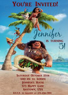 Moana Birthday Party Invitation Disney Movie Invite Elsa Geburtstagsparty 3er Geburtstag