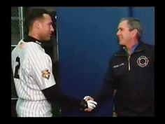 President George W. Bush throws out the first pitch at Game 3 of the 2001 World Series.  As a Yankee fan, a sports fan, and an American, I find this to be one of most inspiring moments in my lifetime.