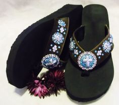 Cute western cowgirl hair on hide bling cross concho flip flops. Accented with genuine glass crystals. $35.00  www.pamperedcowgirl.com