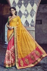 Net and Bemberg Georgette Heavy Embroidery Designer Saree In Yellow and Pink Colour