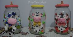 LIndos vidros decorados em biscuit, faço varios modelos, para mais informação Suellen Art