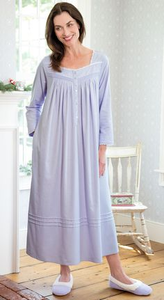 Fairy Tale flannel nightgown by Eileen West nightgown features three quarter sleeves, lace trim, embroidery, pockets and more. Long Linen Dresses, Modest Fashion, Fashion Dresses, Christmas Nightgowns, Night Gown Dress, Pijamas Women, Flannel Nightgown, Casual Dresses For Women, Clothes For Women
