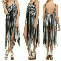 Fringe Cover Up Gorgeous cover up features a a weave design with ankle length fringes. Perfect over a bathing suit or shorts and tank top. Also looks fabulous over a tank top and skinny jeans. Very Versatile piece.  Mood: Boho, Beach, Summer Fun  Fabric: 100% Cotton  Fit: Loose, Stretchy  Black, white, and grey  BRAND NEW.  In sizes XS and M/L.  Please specify which size you need. Selfie Couture  Tops
