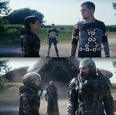 Antje Traue(Faora-Ul) & Michael Shannon(General Zod) Weta Pre-Viz on Kent Farm set for Man Of Steel(2013)