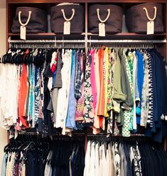 Jessica Alba's closet-- velvet hangers are an obvious win, plus she gets point for labeling those bins at the top.