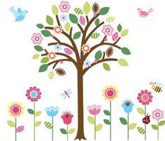 Pretty Pastel Garden Giant Peel & Stick Wall Art Sticker Decals