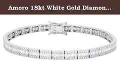 """Amoro 18kt White Gold Diamond Bracelet (2 cttw, H-I Color, SI1-SI2 Clarity), 7"""". One hundred and eighty-six baguette cut genuine Diamonds weighing a total of approximately 2.00 carats and three hundred and ten round brilliant genuine Diamonds weighing a total of approximately 1.05 carats in an exclusive 18kt white gold Amoro design."""