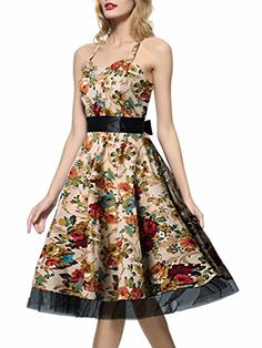 IHOT Braces Skirt Vintage Dress for Girls Women Juniors Party Beach Black White XXXLarge Khaki Floral ** Check out the image by visiting the link.Note:It is affiliate link to Amazon.