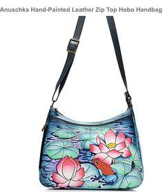 22f119b1c Anuschka Hand-Painted Leather Zip Top Hobo Handbag w/ Adjustable Strap