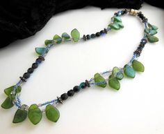 Green Blue Black Glass Leaf Bead Silver Tone Accent 16 1/2  Choker Necklace