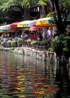 The Riverwalk, San Antonio Love the colors on the water