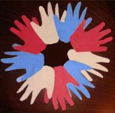 American handprint wreath for any patriotic holiday Sunday School Activities, Activities For Kids, Crafts For Kids, Arts And Crafts, Toddler Classroom, Wreath Crafts, Veterans Day, Fourth Of July, Independence Day