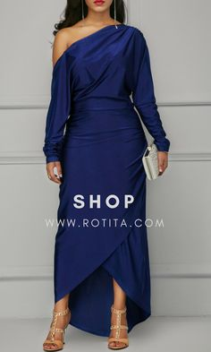 Long Sleeve Skew Neck Navy Dress .From parties and formal dinners to work events and casual summer afternoons,our women's dress selection features something fllatering for every occasion.#rotita