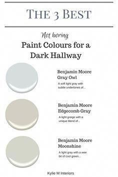 The 3 best not boring paint colours for a dark hallway or stairwell by Kylie M Interiors. E-decor and Color Consulting The 3 best not boring paint colours for a dark hallway or stairwell by Kylie M Interiors. E-decor and Color Consulting Hall Paint Colors, Bright Paint Colors, Hallway Colours, Best Paint Colors, Paint Colors For Living Room, Interior Paint Colors, Paint Colors For Home, House Colors, Interior Painting