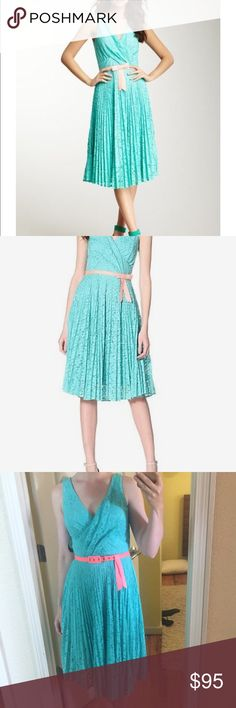 BRAND NEW! Eva Franco turquoise lace dress Sz 6 Gorgeous brand new dress from Eva Franco. Still has tags! Turquoise lace with neon coral belt. So stunning! Fully lined. Sz 6/small. Eva Franco Dresses Midi
