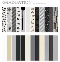 Graduation and Celebration Designer Border Strips: Each strip is printed on both sides, so you have plenty of patterns to choose from! They coordinate beautifully with the journal cards in the Graduate & Celebrate Collection by Katie Pertiet, the Black Noir Collection, and the Wedded Bliss Solid Color Metallic Cardstock.