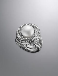 Pearl Crossover Ring, Pave Diamonds | Women Rings | David Yurman Official Store