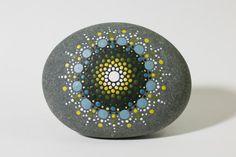 Blue Ocean Burst Mandala Painted Stone by CaseyGrenier on Etsy