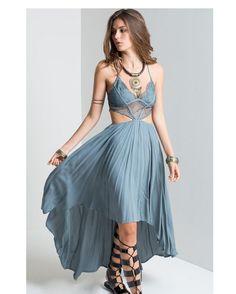 4d35a9c749d Women s V-Neck Boho Spaghetti Strap Maxi Dress w  Lace Design