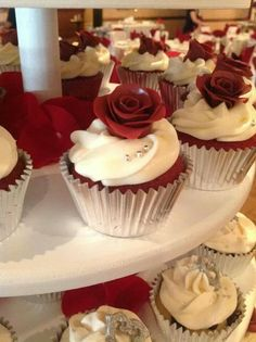 Burgundy and silver wedding cupcakes.  www.becupcakemaker.com