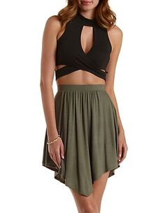 High-Neck Cut-Out Wrap Crop Top: Charlotte Russe #top #croptop