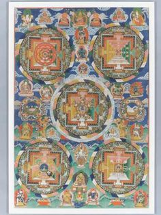 AN IMPRESSIVE AND LARGE FIGURE-FILLED MANDALA THANGKA Distemper and gold paint on cloth, framed. Sino-Tibetan, 18th century