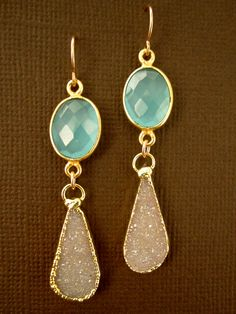 Sand Druzy Drusy Aqua Chalcedony Double Drop 24K Gold Vermeil Earrings