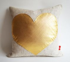 Gold Heart Pillow Cover by Sukan contemporary pillows